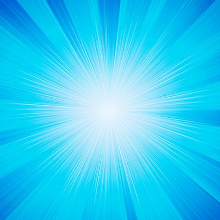 sunbeams: Vector blue shiny sun background with sunbeams, sunrays.