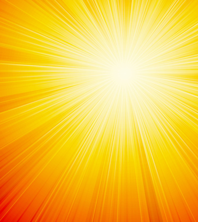 sunrays: Vector orange shiny sun background with sunbeams, sunrays.