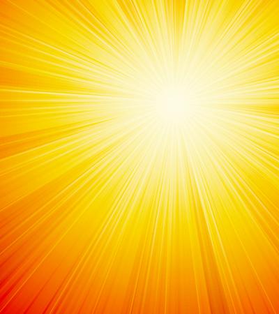 sunbeams: Vector orange shiny sun background with sunbeams, sunrays.
