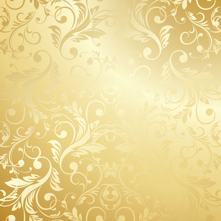 navidad elegante: Lujo Papel pintado de oro. Modelo floral de la vendimia del fondo del vector.