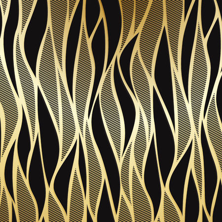 Luxury golden wallpaper. Vintage wave pattern Vector background. Çizim