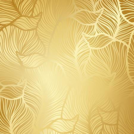 Luxe gouden behang. Vintage Bloemen patroon Vector achtergrond.