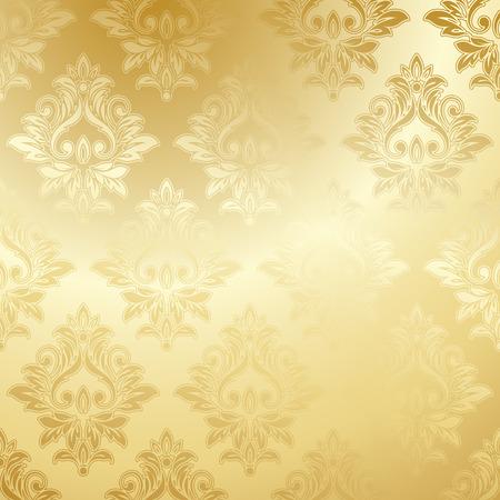 Lujo Papel pintado de oro. Modelo floral de la vendimia del fondo del vector.