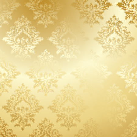 royal background: Luxury golden wallpaper. Vintage Floral pattern Vector background.