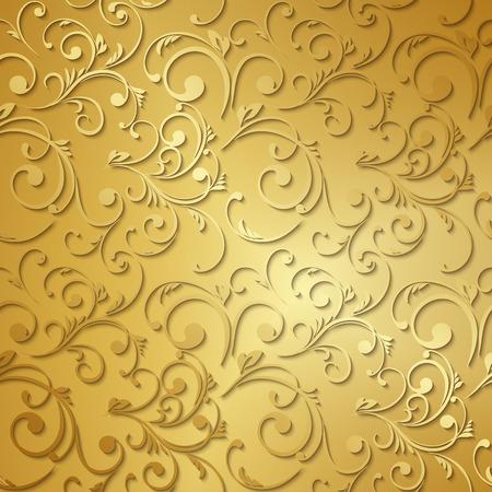 黄金の高級壁紙。ヴィンテージ花柄のベクトルの背景。