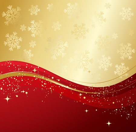 red gold: Red and gold  winter abstract background. Christmas background with snowflakes. Vector. Illustration