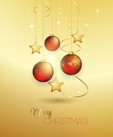 the snowflake: Holiday Background with red Christmas baubles. Vector illustration.