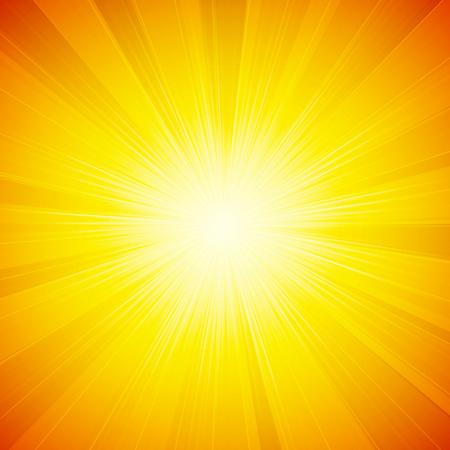 słońce: Wektor pomarańczowy błyszczące słońce tło z promieni słonecznych, promieni słonecznych. Ilustracja