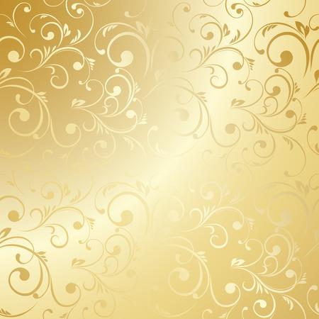golden: Lujo Papel pintado de oro. Modelo floral de la vendimia del fondo del vector.