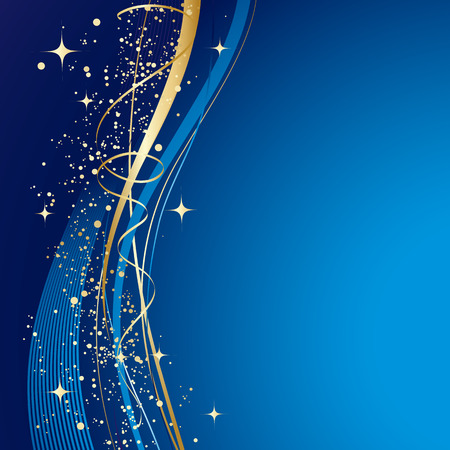 Blue winter abstract background. Christmas background with gold wave. Vector.  イラスト・ベクター素材