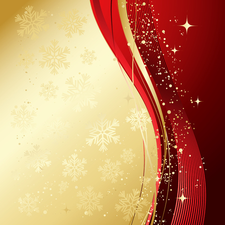 Red and gold abstract background. Christmas background with  snowflakes