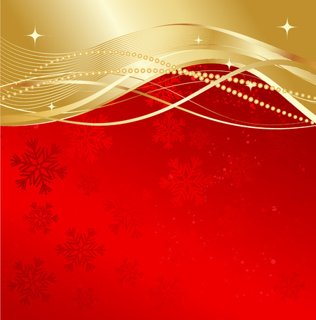 red christmas background: Red and gold abstract background. Christmas background with  snowflakes