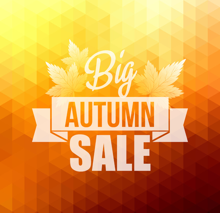 autumn colors: Autumn sun triangle vector background with leaves. Vector illustration. Big sale Illustration