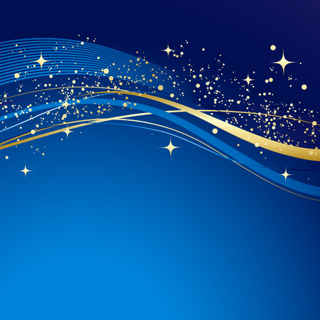 Blue winter abstract background. Christmas background with gold wave. Vector. Stock Illustratie