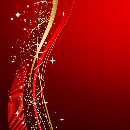 赤の抽象的な背景。波とクリスマスの背景。  イラスト・ベクター素材
