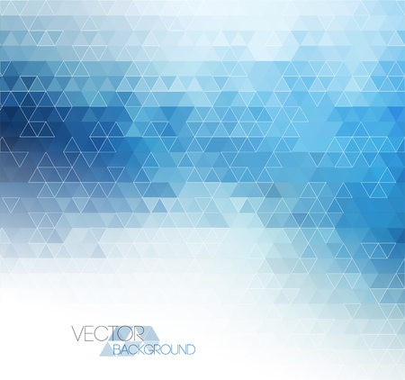 triangular banner: Abstract blue light template background with triangle pattern