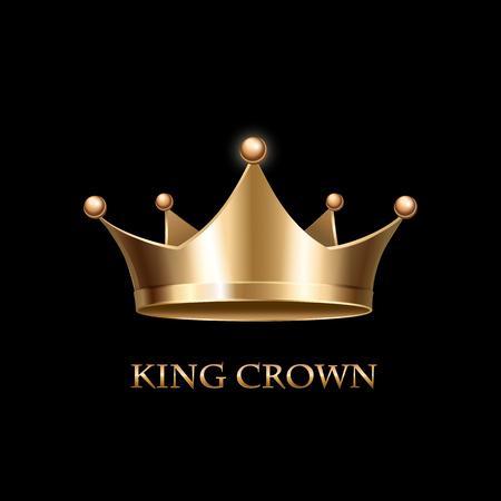 Gold Crown na czarnym tle. Ilustracja wektorowa