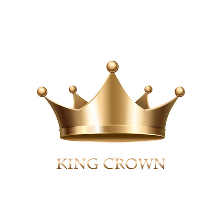 crown: Gold Crown Isolated On White Background. Vector Illustration