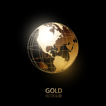 Golden transparent globe isolated on black background. Vector icon. Stock Illustratie
