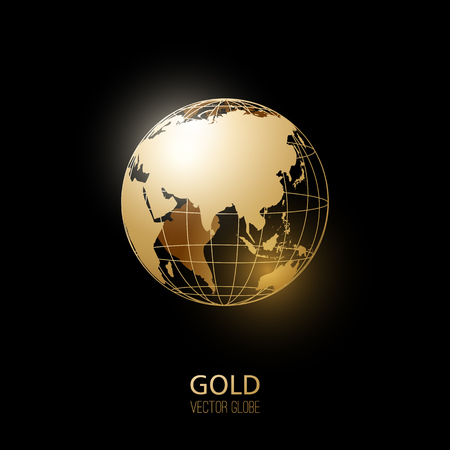wereldbol: Golden transparante bol geïsoleerd op een zwarte achtergrond. Vector pictogram.
