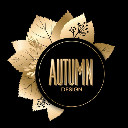 fall: Fall banner with Gold leaves. Vector illustration EPS 10