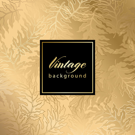 gold fabric: Vector vintage gild card with seamless damask pattern  EPS 10 Illustration