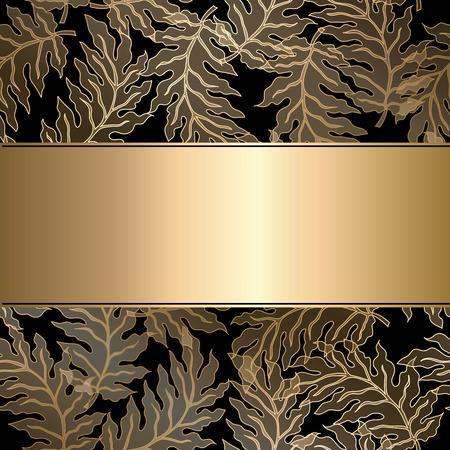 gild: Vector vintage gild card with seamless damask pattern  EPS 10 Illustration