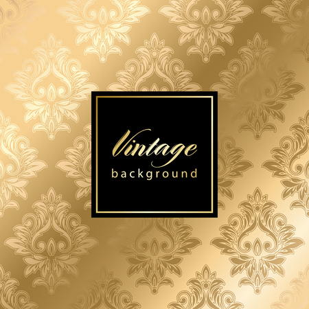 Vector vintage gild card with seamless damask pattern  EPS 10 Vectores