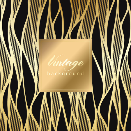 Vector vintage gild card with seamless damask pattern  EPS 10 矢量图像