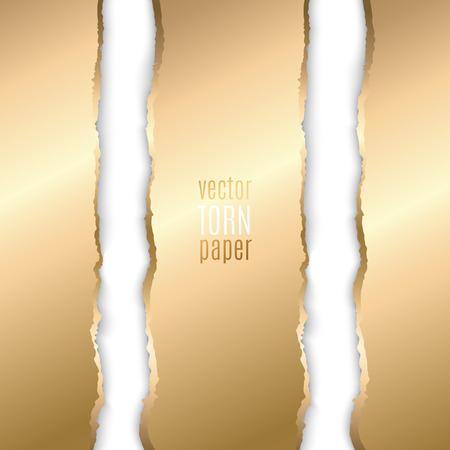 Vector illustration Gold torn paper. Template background