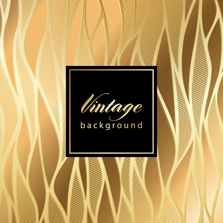 Vector vintage gild card with seamless damask pattern  EPS 10 Illustration