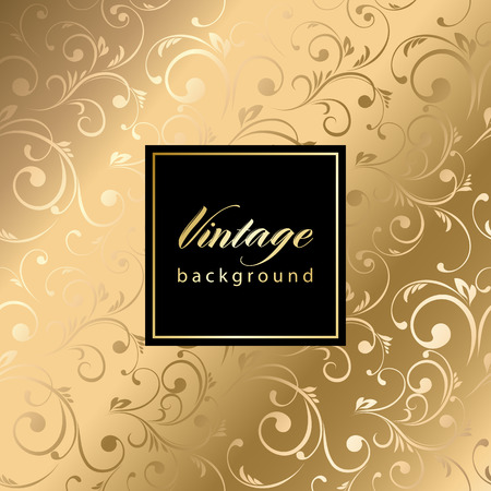 gold leaf: Vector vintage gild card with seamless damask pattern  EPS 10 Illustration