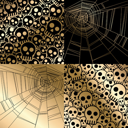 tiles background: Vector halloween card with spider web and skulls seamless pattern. Vintage gold design for menu, gift card and cover
