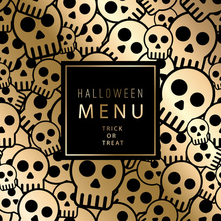 gold design: Vector halloween card with skulls seamless pattern. Vintage gold design for menu, gift card and cover
