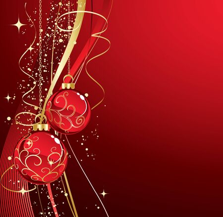 Background with red christmas baubles, Vector illustration. Illustration