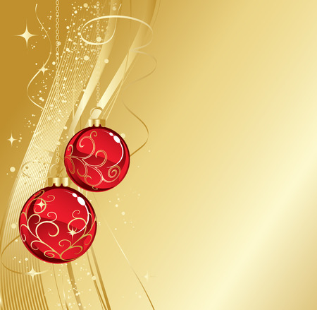 gold ornaments: Background with red christmas baubles, Vector illustration. Illustration