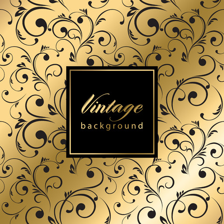 Vector vintage gold card with seamless damask pattern  EPS 10 Иллюстрация