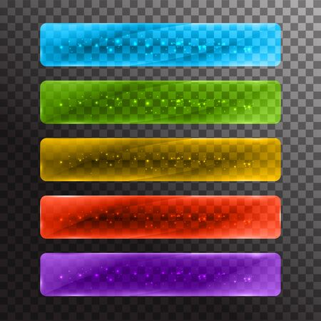 glass panel: Set of glossy colored web buttons. Vector illustration