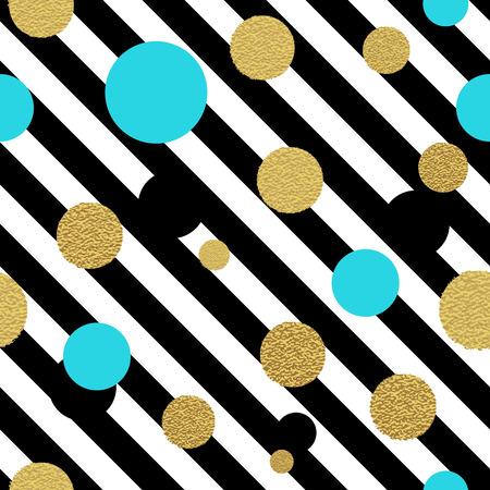 turquesa: Modelo inconsútil de puntos clásico del brillo del oro. Polka dot adornado Vectores