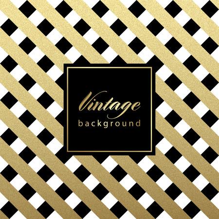 oro: Oro brillante patrón de líneas diagonales en el fondo negro. . Patrón clásico. Diseño vectorial Vectores