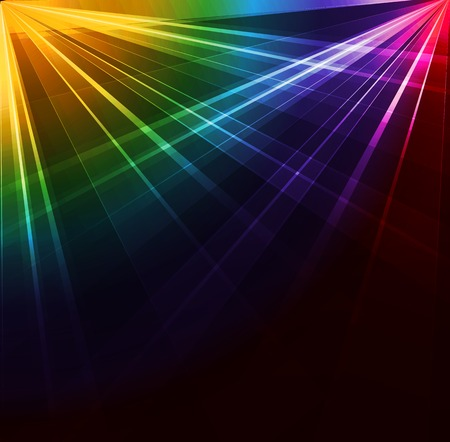 scene: Colorful Spotlight background. Vector illustration. Neon or laser light