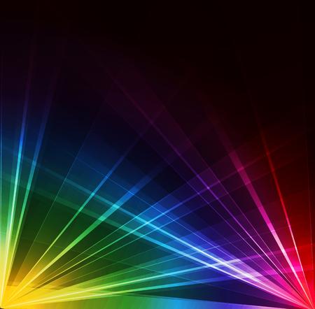 カラフルなスポット ライトの背景。ベクトルの図。ネオンやレーザー光