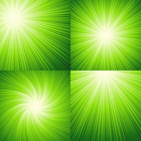 sunbeams: Sunbeams green  abstract vector illustration background. EPS 10