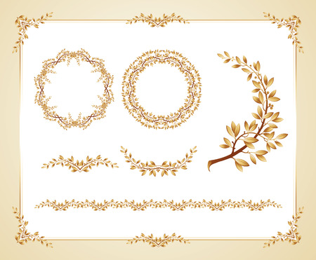 estampilla: Ilustraci�n del vector plantilla de certificado con elementos de dise�o de laurel Vectores