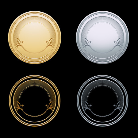 token: Blank gold and silver token, vector illustration Illustration