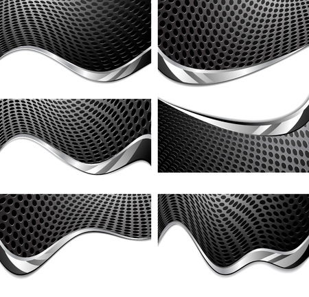 aperture grid: Metal texture perforated. Black and white background with chrome wave Illustration