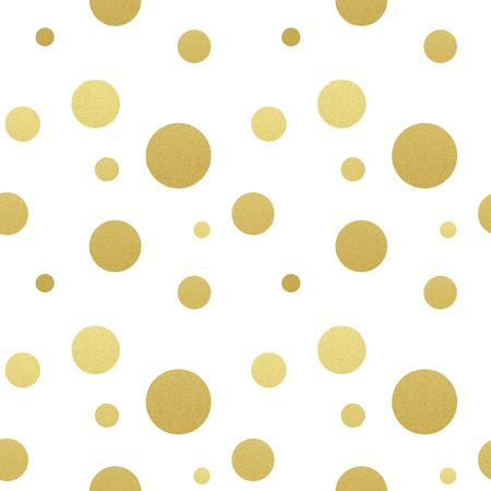 点線のシームレスなゴールドラメの古典的なパターン。 華やかな水玉