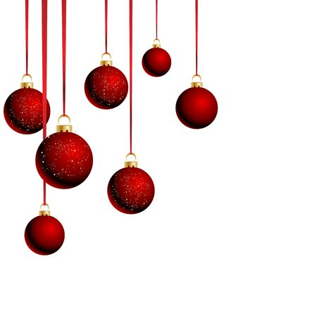 Christmas red  balls with ribbons on white background