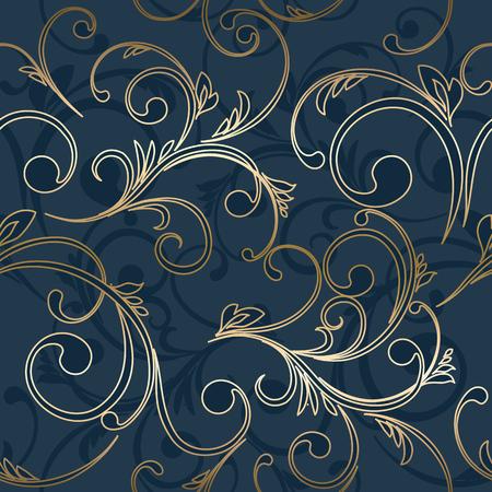 Vector vintage carte d'or avec motif damask pattern EPS 10 Banque d'images - 45646274