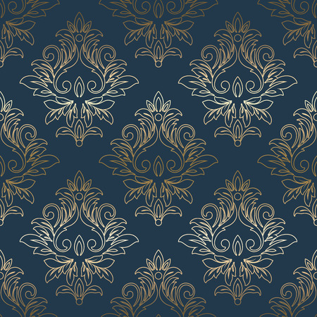 Vector vintage gold card with seamless damask pattern  EPS 10 Illustration